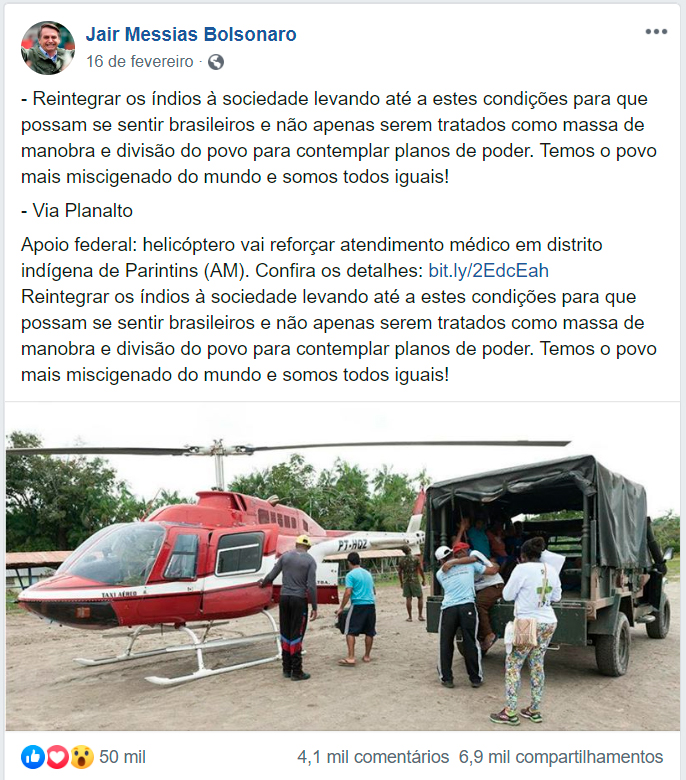 Bolsonaro e indígena